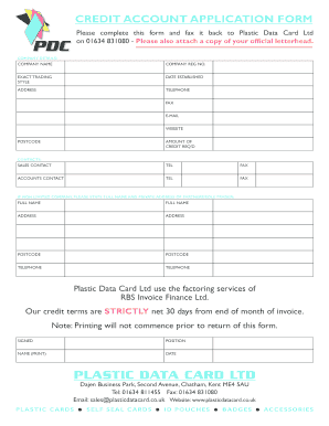 Please complete this form and fax it back to Plastic Data - plasticdatacard co