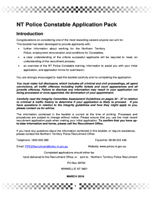 NT Police Constable Application Pack - pfesntgovau - pfes nt gov