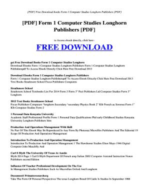 Longhorn Computer Studies Book 1 Pdf - Fill Online