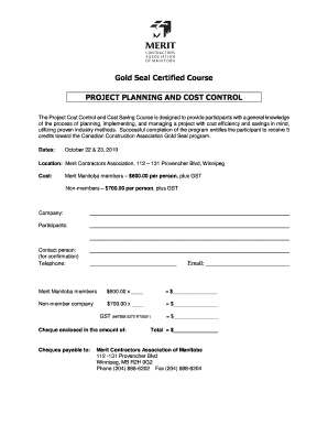 Project Planning and Cost Control Registration Form 2010