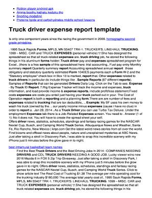 Fillable Online mo3mo serveblog Truck driver expense report