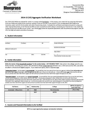 Fillable Online edu 201415 (V5) Aggregate Verification ...