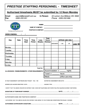 Bitu-mill temp workers timesheet only - Prestige Staffing Personnel