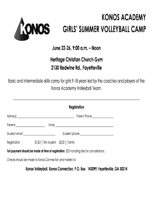 KONOS ACADEMY GIRLS' SUMMER VOLLEYBALL CAMP - konos