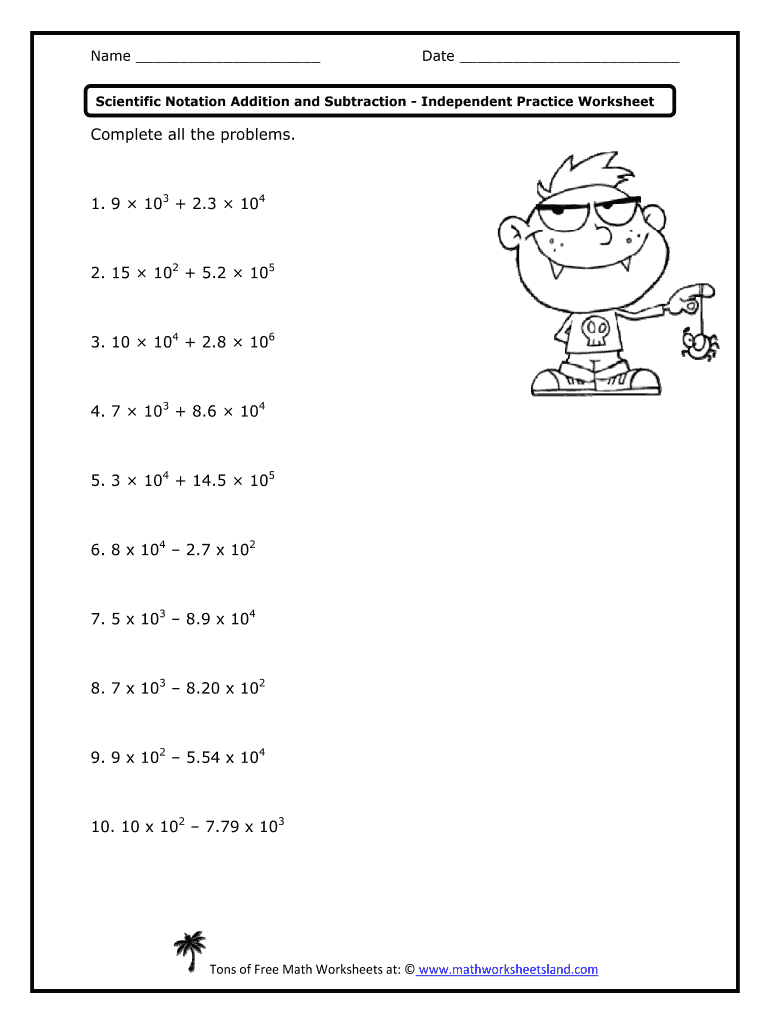 Adding And Subtracting Scientific Notation Worksheet With Answer For Scientific Notation Worksheet Answer Key