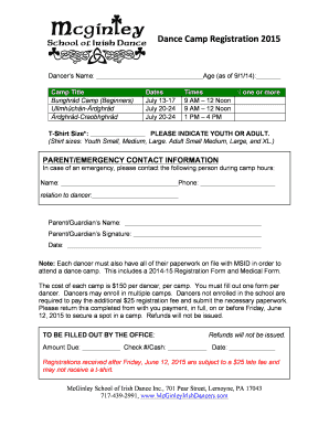 Dance Camp Enrollment Form 2015 - McGinley School of Irish
