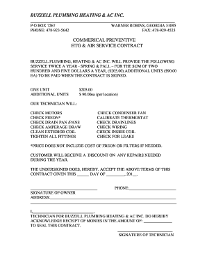 Hvac Service Contract Template from www.pdffiller.com