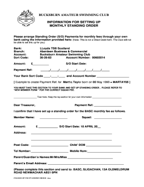 Download Bank Standing Order Form - Bucksburn Amateur ... - bucksburnasc org