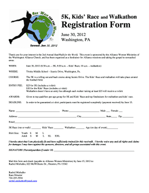 5k registration forms Fillable Online washingtoncma 5K Kids Race Walkathon Registration ...