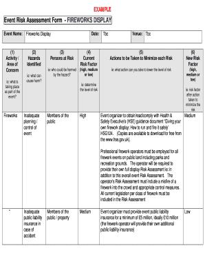 Fillable Online longdenvillagehall co Event Risk Assessment