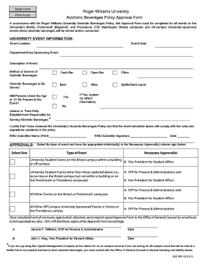 alcoholic beverages policy approval form