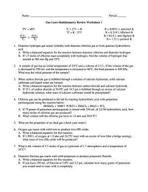fill online - Stoichiometry Worksheet
