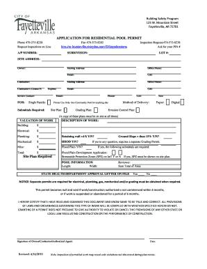 Residential Pool Permit bApplicationb - Fayetteville