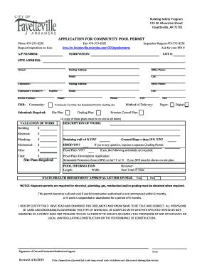Community Swimming Pool Permit bApplicationb - Fayetteville