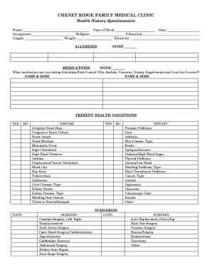 patient health history questionnaire