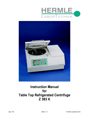 Instruction Manual for Table Top Refrigerated Centrifuge Z 383 K Page 1 of 36 Z383K V1