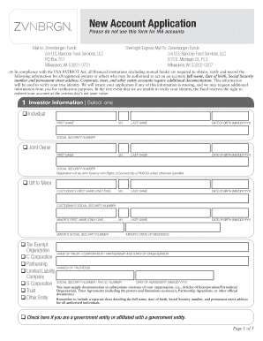 New account application bzcib fill online printable for New account application form template