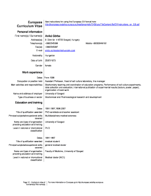 cv europass - Edit & Fill Out Online Templates, Download in