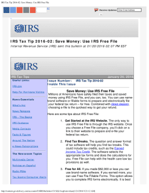 IRS Tax Tip 2016-02: Save Money: Use IRS Free File Fill