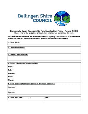 Community Event Sponsorship Fund BApplicationb Form Round 2