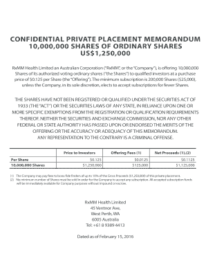 CONFIDENTIAL PRIVATE PLACEMENT MEMORANDUM - RxMM Health