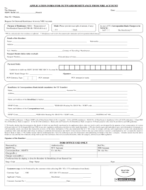 Fillable Online BApplicationb Form - Outward Remittance from NRE