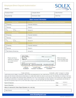 Direct Deposit Authorization Form - Solex Payroll Fill Online