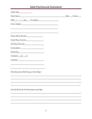 16 Printable psychosocial assessment nursing Forms and ...