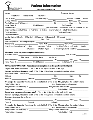 Editable patient encounter form template fill out print patient information form rev 113 pronofoot35fo Gallery