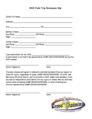 2015 Field Trip Permission Slip - Ben Davis Christian Church - bdcc