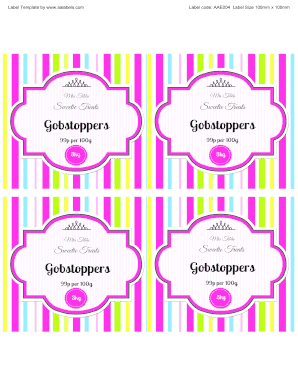 fillable online gobstoppers sweet jar label template autofill free