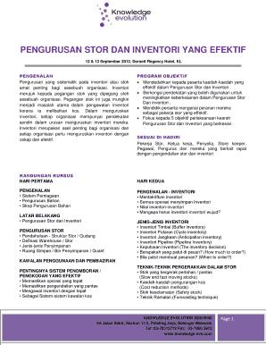 Fillable Online Pengurusan Stok Dan Inventori Hotel Form Fax Email Print Pdffiller