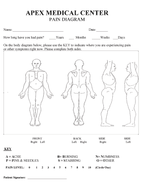 Fillable pain diagram body Templates to Create in PDF ...
