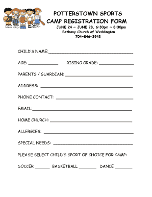printable sports camp registration form edit fill out download samples in word pdf. Black Bedroom Furniture Sets. Home Design Ideas