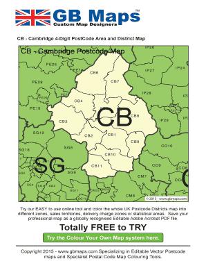 Cambridge Postcode Map Fillable Online Cb cambridge postcode district map Fax Email Print