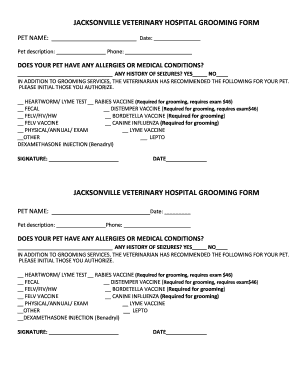 Sample Grooming Consent Form on animal intake form, medical release form, grooming intake form, grooming brochure, grooming release form, client intake form,