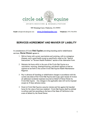 Fillable horse boarding liability waiver - Edit Online
