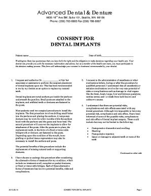 Dental consent forms - Edit & Fill Out, Download Printable Online ...