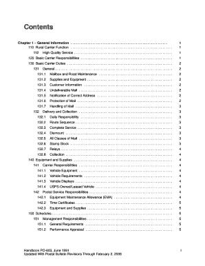 Fillable Online Handbook PO-603 - Rural Carrier Duties and