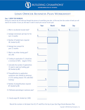 Fillable online loan officer business plan worksheet rate this form fbccfo Image collections