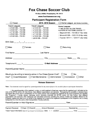 fillable online foxchasesoccer registration form fox chase soccer