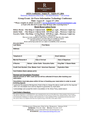 Fillable online hotel reservation form group fax email print rate this form thecheapjerseys Choice Image