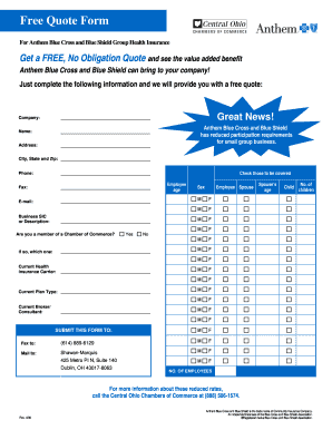 fillable online free quote form chambersaver com fax email print