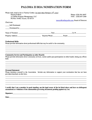hoa nomination form