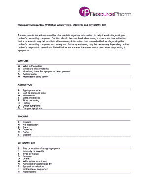 Fillable mnemonic for review of systems - Edit Online