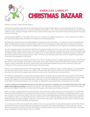 fill online - Americas Largest Christmas Bazaar