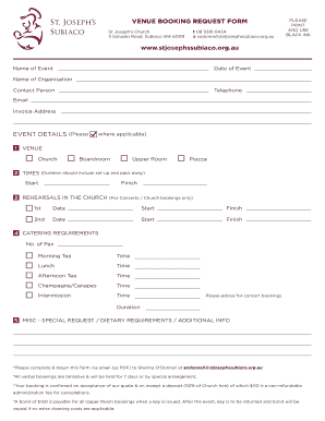 Venue Booking Agent Contract. VENUE BOOKING REQUEST FORM PLEASE PRINT St  Josephs Church .