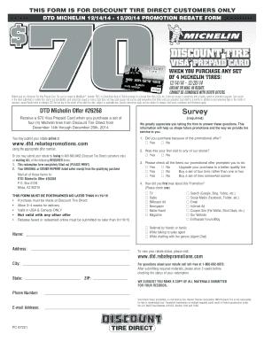 Fillable Online Dtd Michelin 12 14 14 12 20 14 Promotion Rebate