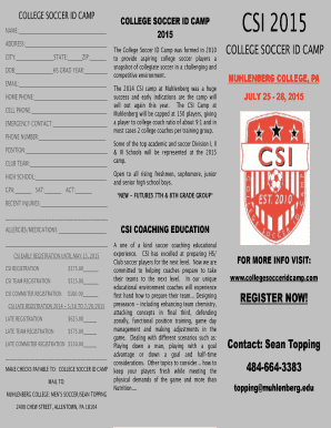 COLLEGE SOCCER ID CAMP NAME: ADDRESS: CITY: STATE: ZIP: DOB: HS GRAD YEAR: EMAIL: HOME PHONE: CELL PHONE: EMERGENCY CONTACT: PHONE NUMBER: POSITION: CLUB TEAM: HIGH SCHOOL: GPA: SAT: ACT: RECENT INJURIES: COLLEGE SOCCER ID CAMP 2015 The