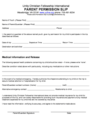 UCFI Permission Slip - Unity Christian Fellowship .